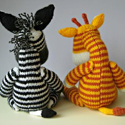 Knitting Pattern Giraffe : Gerry Giraffe And Ziggy Zebra Toy Knitting Patterns on Luulla