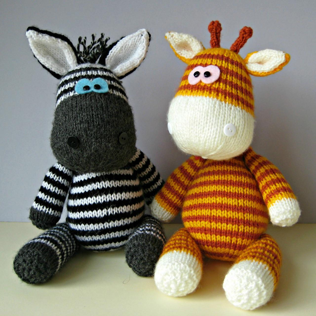 Free Crochet Zebra Patterns : and ziggy zebra toy knitting patterns gerry giraffe and ziggy zebra ...