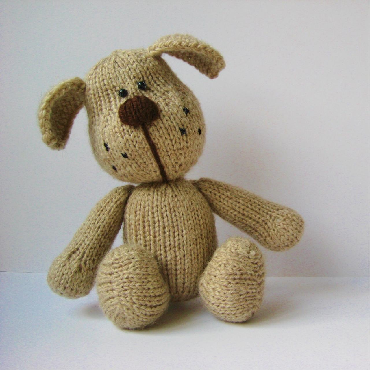 Free Knitting Pattern Toy Puppy : Bernie The Dog Toy Knitting Pattern on Luulla